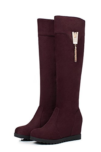 Claret ABL09682 Inside BalaMasa Womens Suede Boots Heighten Flatform Heel on Mid Pull nqPr0qwv6