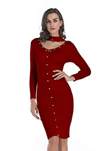 Bshare Women's Long Sleeve V Neck Bodycon Sweater Midi Dresses Slim Fit Knit Dress Red, L,BJ11025 -
