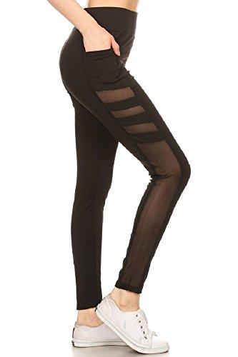 - Jvini Women's Active Mesh Panel Insert Workout Yoga Leggings with Pockets Black M