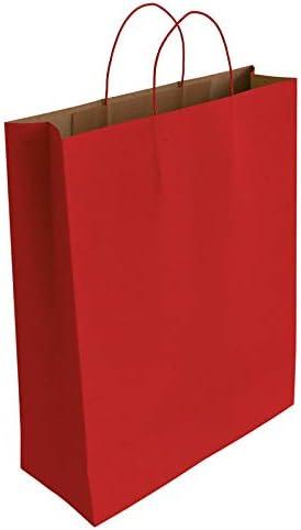 [CA3032] 50 x Bolsa de Papel Kraft Rojo con Asas Rizadas (37 x 27 x 12 cm)
