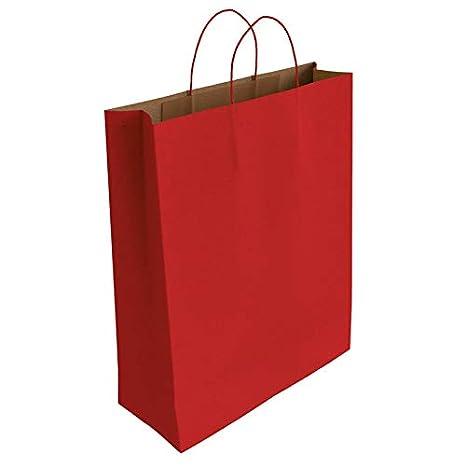 50 x Bolsa de Papel Kraft Rojo con Asas Rizadas (40 x 32 x 14 cm)