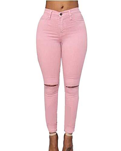 Flaco Pantalones Alta Estiramiento Vaqueros Rasgados De Sólidos Mujeres Bolsillos Ropa Pink Con Cintura Las Colores Casuales Leggings Lápiz AzwrApyq