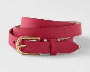 Coldwater Creek Colorbright Leather Belt, Ripe Raspberry, Small (8)