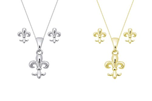 THE ICE EMPIRE JEWELRY, LLC Fleur De Lis Cross Gold Plated Sterling Silver Pendant Earring Set Necklace 20in (gold-plated-silver)