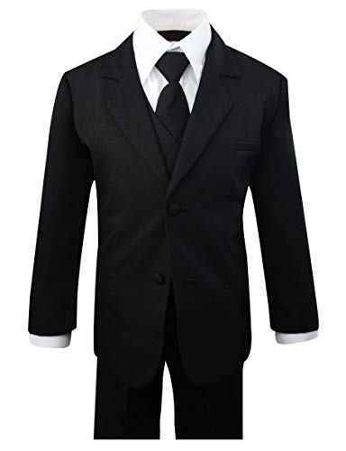 Luca Gabriel Toddler Boys' 5 Piece Classic Fit No Tail Formal Black Dress Suit Set with Tie and Vest - Size 4T by Luca Gabriel (Image #6)