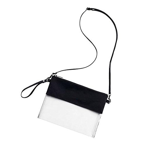 Auony Adjustable Cross-Body Strap Clear Tote Bag,NFL Approved Clear Vinyl Bag Gameday Crossbody Purse Bag with Zipper Closure for Work School Sports Games (Black) - Game Day Purse
