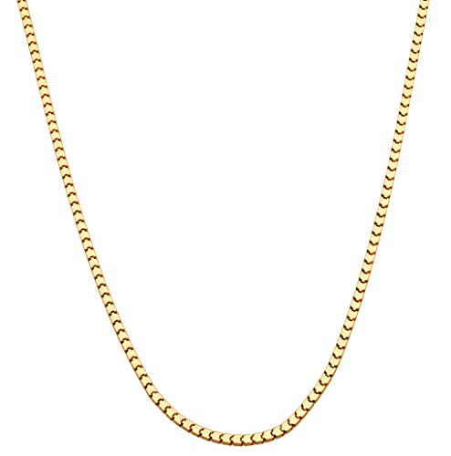 (MiaBella 18K Gold Over Sterling Silver Italian 2.2mm Square Venetian Mirror Box Link Chain Necklace for Men Women, 18