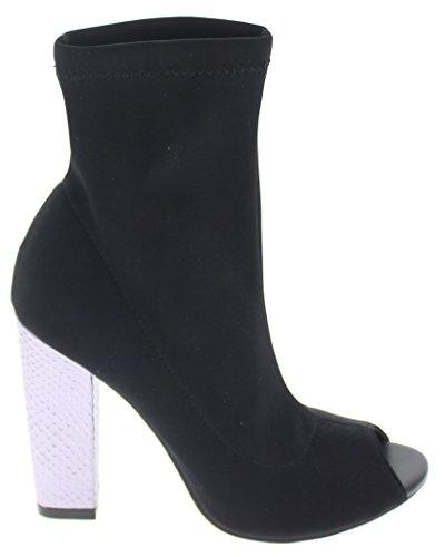 Lycra Peep Shoe Royce Republic Toe Heel Bootie Black w Block 5ggEqHw