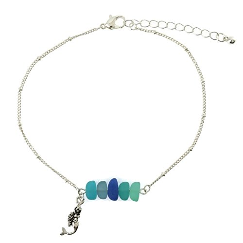 - Mermaid Charm Sea Glass Beads Sealife Anklet