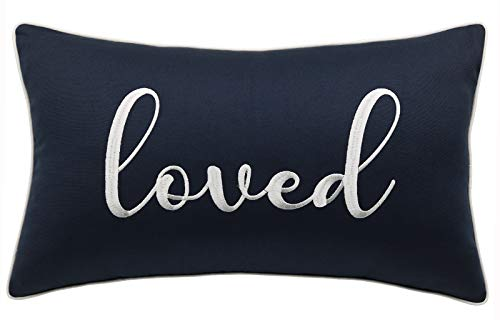 YugTex Loved Embroidered Lumbar Decorative Accent Throw Pillow Cover – Nursery Décor – 12×20, Navy