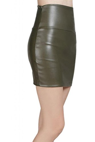 Instyle Jupe en Lotus Faux cuir Short Green cuir Army Dame Mini RwnwdxTqIC