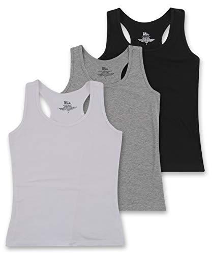Women's 3 Pack Cotton Stretch Casual Workout Racerback Tank Top - White, Grey, Black - Small
