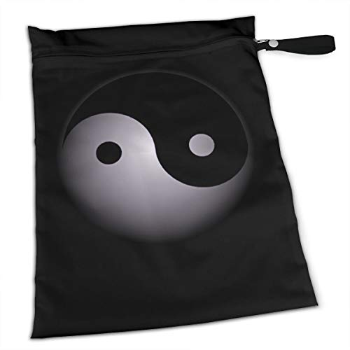 (Yin Yang Tai Chi Zen Spirit Balance Meditation Religion Premium Wet Bag Baby Wet Dry Cloth Diaper Nappy Stroller Bags Waterproof Reusable Wet Bags for Swimsuit Wet Clothes Baby Items with Zipper )