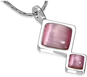 Fashion Journey Square Charm Chain Necklace w/Rose Pink Cat Eyes Stone