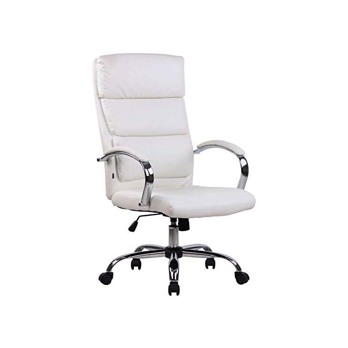 31bGVs%2BzsnL MATERIALES: La silla ejecutiva cuenta con un agradable acolchado y un tapizado disponible en tela (100% poliéster) o en cuero sintético (100% poliuretano) según su elección. La base está disponible en metal cromado, reistente y fácil de limpiar. CARACTERÍSTICAS: La silla de oficina ofrece una postura ergonómica gracias a su forma y cualidades de asiento, la libertad de movimientos viene dada gracias a su respaldo con mecanismo de balanceo, su asiento giratorio y regulable en altura. La silla de oficina es cómoda y ofrece gran libertad de movimientos. DIMENSIONES: La silla de escritorio cuenta con las siguienes medidas aproximadas: Altura: 112 - 122 cm I Ancho: 64 cm I Profundidad: 70 cm I Altura del asiento: 44 - 54 cm I Superficie del asiento (AxP): 54 x 52 cm I Altura del respaldo: 72 cm I Altura de los reposabrazos: 67 - 77 cm I Capacidad máx. de carga: 136 kg I Peso: 16 kg.