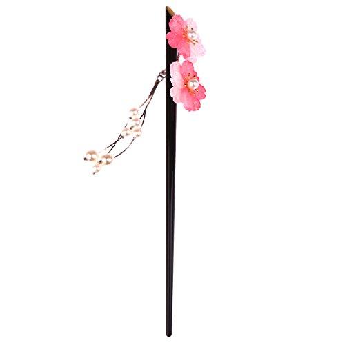 (MonkeyJack Women Bridal Flowers Acrylic Hair Stick with Pearl Tassels Hair Pin Hair Accessories -)