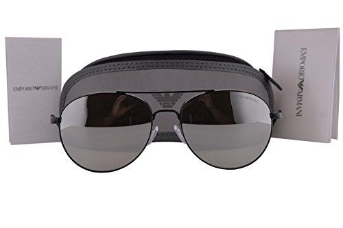 Emporio Armani EA2040 Sunglasses Black w/Light Grey Mirror Silver Lens 30146G EA - Ea2036 Sunglasses Armani Emporio