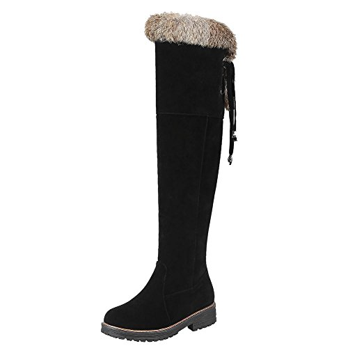 Charme Voet Dames Comfort Rits Lage Hak Knie Hoge Laarzen Zwart