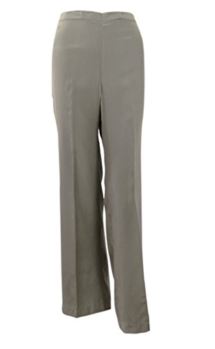 Sutton Studio Women's 100% Silk Pull On Elastic Waist Pants (6,Grey) (Silk Pants Slacks)