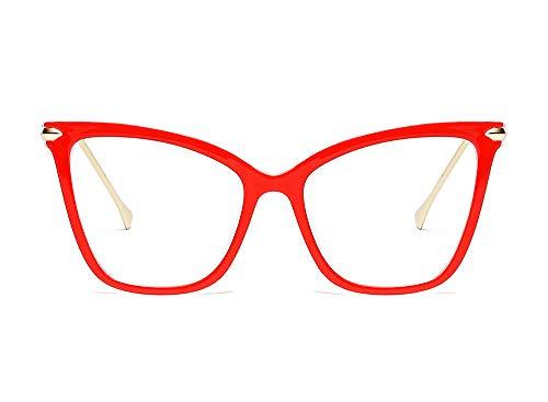 Beison Womens Cat Eye Transparent Frame Mod Sunglasses Eyeglasses (Red, Clear) -