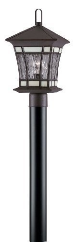 Westinghouse Lighting 6486600 One-Light Post-Top Exterior Lantern, Textured Rust Patina on Solid Brass and Steel with Water Glass and Tiffany - Textured Lights Rust Patina Post