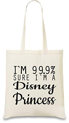 Que Unique 9 Printed I'm 99 Un friendly 100 Sure Sûr Natural Drôle Color Custom Eco Cotton À Funny Disney Je De amp; 9 Princesse Princess Suis Bag Tote Soft 99 Naturel Slogan HIAXAq