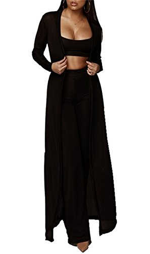 HuiSiFang Women's 3 Piece Outfit Long Knit Cardigan Strap Crop Top Wide Leg Pants with Belt (Pants Leg Knit & Cardigan Wide)
