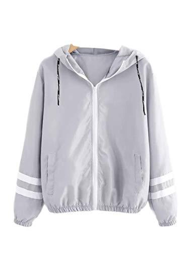 (AngelSpace Women's Parka Outwear Plus Size Pinstripe Hooded Outwear Jacket Grey 2XL)