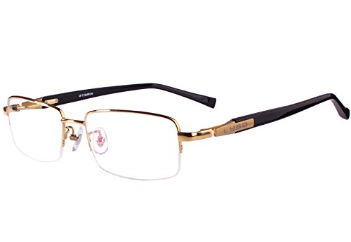 Agstum Titanium Half Rim Glasses Frame Prescription 55-18-145 (Gold)