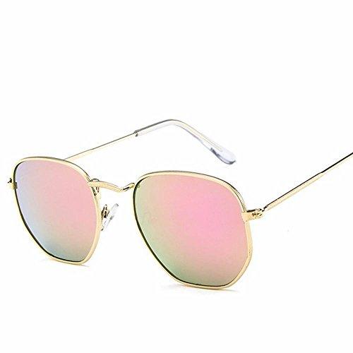 cuadradas Gafas de y Oscuro Tamaño wei Rosado Masculina Metal Verde Femenina Moda Un Gafas de Sol Sol de de wtCqAS