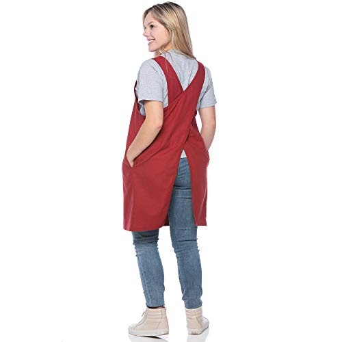 - SMN Goods Premium Soft Cotton/Linen Blend Apron - Cross Back Apron, X-Shaped Apron, Japanese Apron, Perfect for Kitchen, Gardening, and Daily Chores. (Red, Plus)