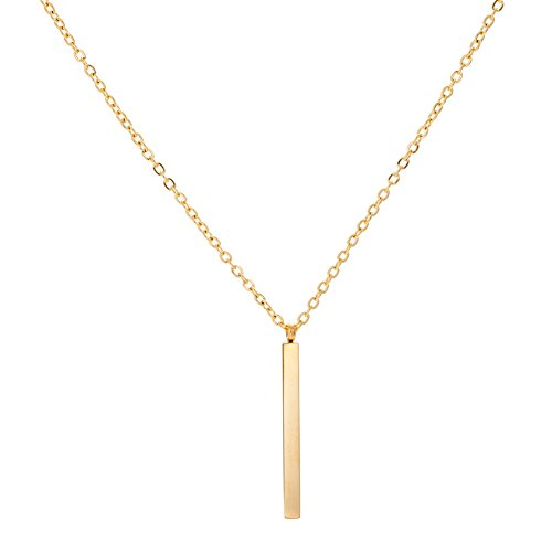 (Stainless Steel Long Bar Drop Y-Chain Classical Simple Necklace (Gold))
