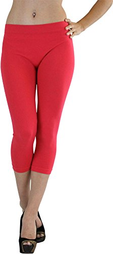 - ToBeInStyle Women's Footless Elastic Legging - Capris Length - 27' Inches - Pink