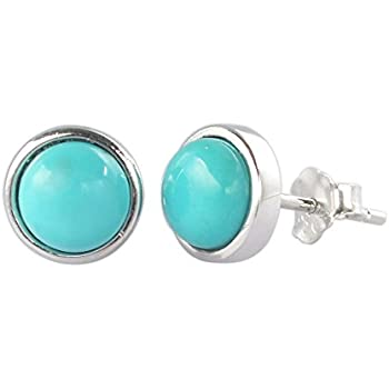 Bling Jewelry Round Simulated Turquoise December Birthstone Stud earrings Gold Plated 10mm GowKgg2j0