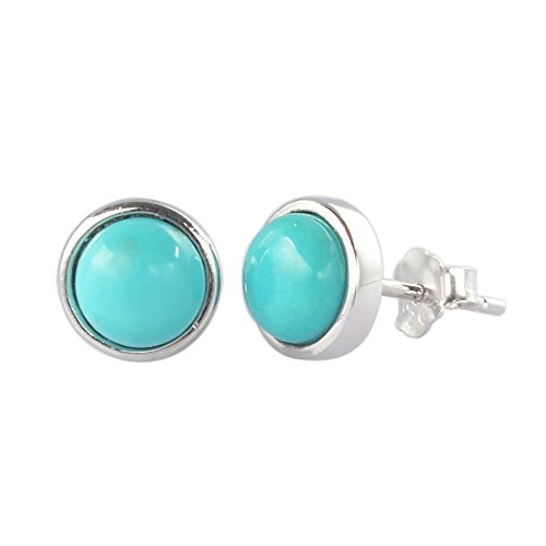 ZENGORI 1 Pair 7MM 925 Sterling Silver Round Natural Turquoise Stud Earrings for Women SS186