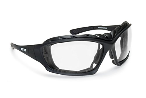 Motorcycle Goggles Padded Sunglasses - Photochromic Antifog Lens - Removable Clip for Pescription Lenses - Interchangeable Arms and Strap - by Bertoni Italy F366A Motorbike Bikers - Curved Prescription Sunglasses