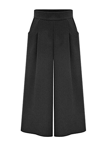 DAILISHA Frauen Casual Zipper dünne Taillen-breite Bein-Crops Culottes Hosen (M)