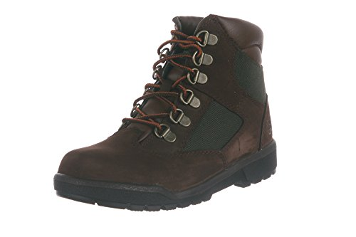 Timberland 6-Inch Leather and Fabric Field Boot (Toddler/Little Kid/Big Kid),Brown Nubuck with Green,13 M US Little Kid