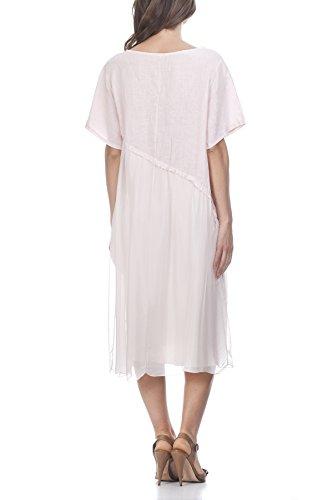 Laura Moretti - Vestido de lino de 2 texturas Rosa