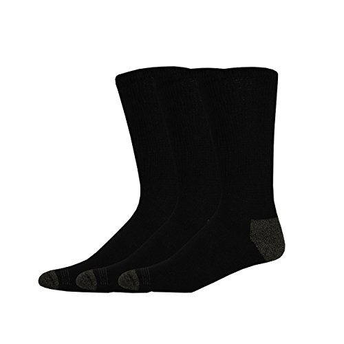 Dockers Men's 3 Pack Cushion Comfort Non Binding Basic Cotton Crew Socks , Black, Sock Size:10-13/Shoe Size: 6-12