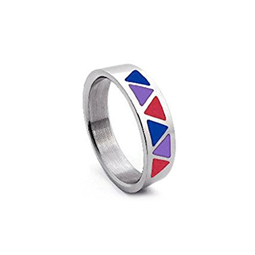 Bi Pride Triangle Flag Steel Ring - Bisexual LGBT Pride Jewelry (9)