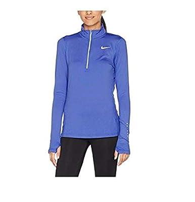 NIKE Women's Dry Fit Element Half Zip Running Top (Light Blue, XSmall)