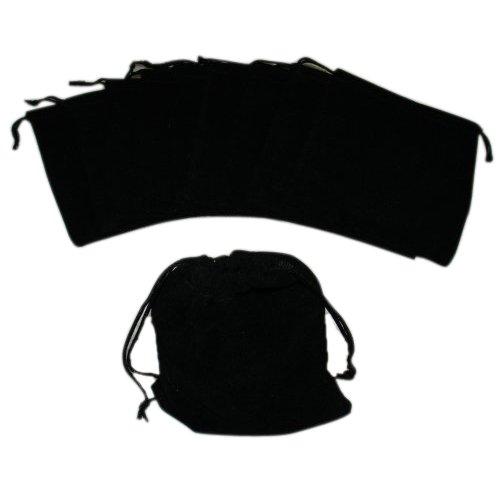 SODIAL(R) Grandes Bolsas de terciopelo negro con cordones