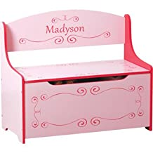 Personalized Kids Toy Box - Pink, Girls. We Will Customize With Your Child's Name. Inscribed Toys Storage & Bench Seat For Kids Bedroom or Playroom