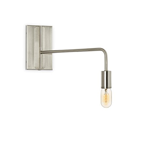 Nickel Wall Sconce Lamp Light - Adjustable Swing Arm, Plugin and Hardwire Installation Options, Edison Bulb Included, Brooklyn Bulb Co. Hoyt Collection - ETL Listed ()