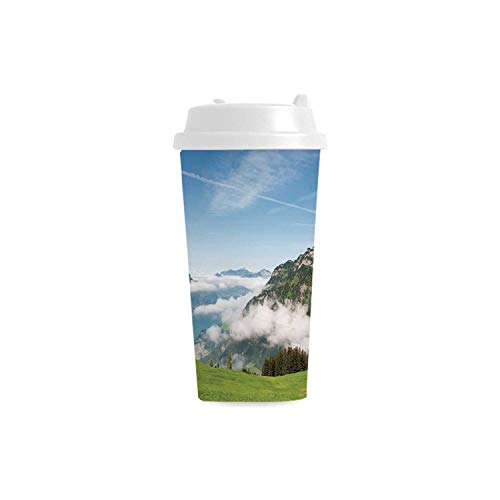 Lucerne Medium Wall - Mountain Environmental Double Wall Plastic Mug,Pastoral View Switzerland Lake Lucerne Cloudy Grassland Pines Altdorf Uri for house,3.5