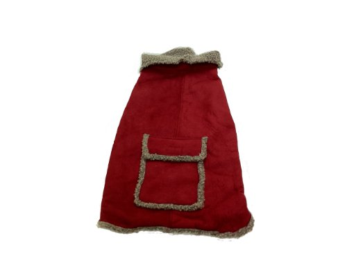 Dog Coat Suede Faux (CPC Faux Suede and Tipped Berber Coat/Jacket for Dogs, X-Small, Red)
