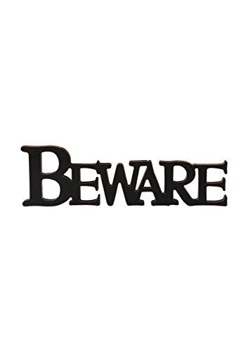Black Beware Cutout Sign Standard