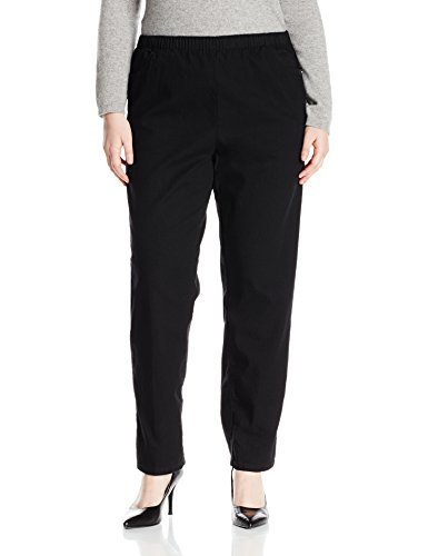 Chic Classic Collection Women's Size Plus Cotton Pull-On Pant with Elastic Waist, Black Denim, 24W -