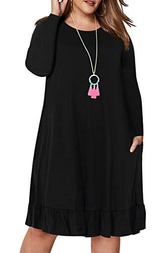 3e069deef9408 Nemidor Women's Simply Plus Size Ruffled Casual Dress with Pocket ...